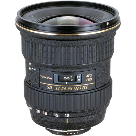 The Tokina 12-24mm f/4 AT-X PRO SD IFDX lens in Canon EF mount.